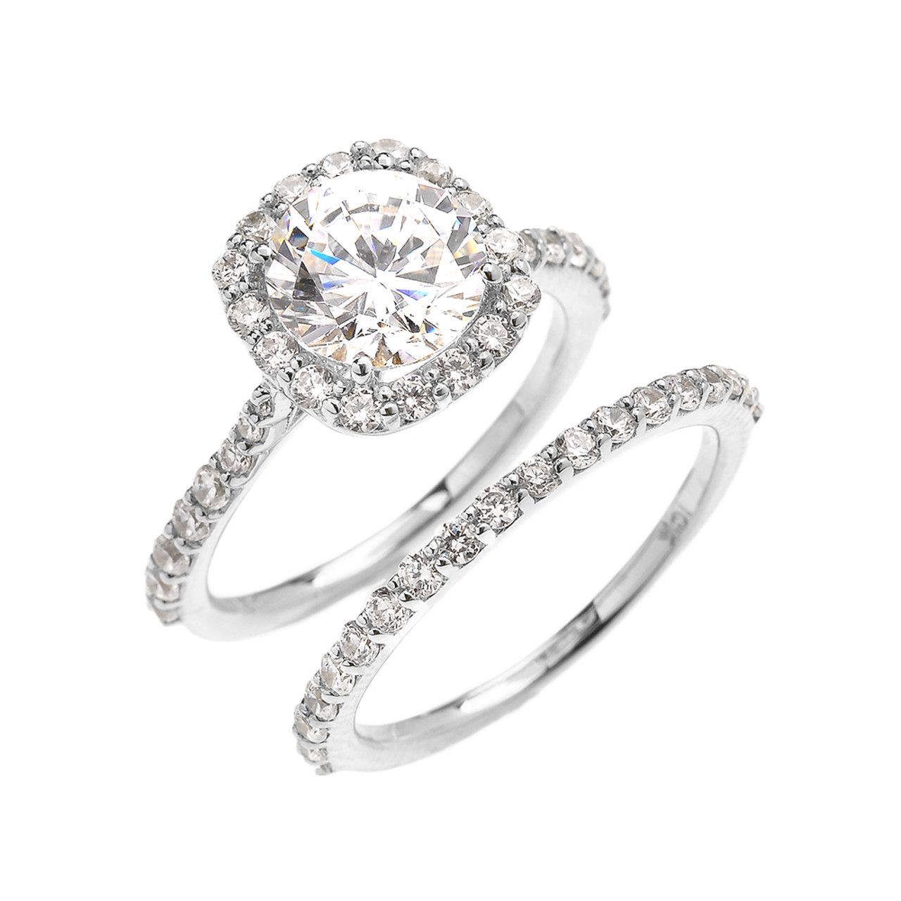Beautiful Engagement Ring Dainty 3 Carat Halo Cz Ring Set In White Gold