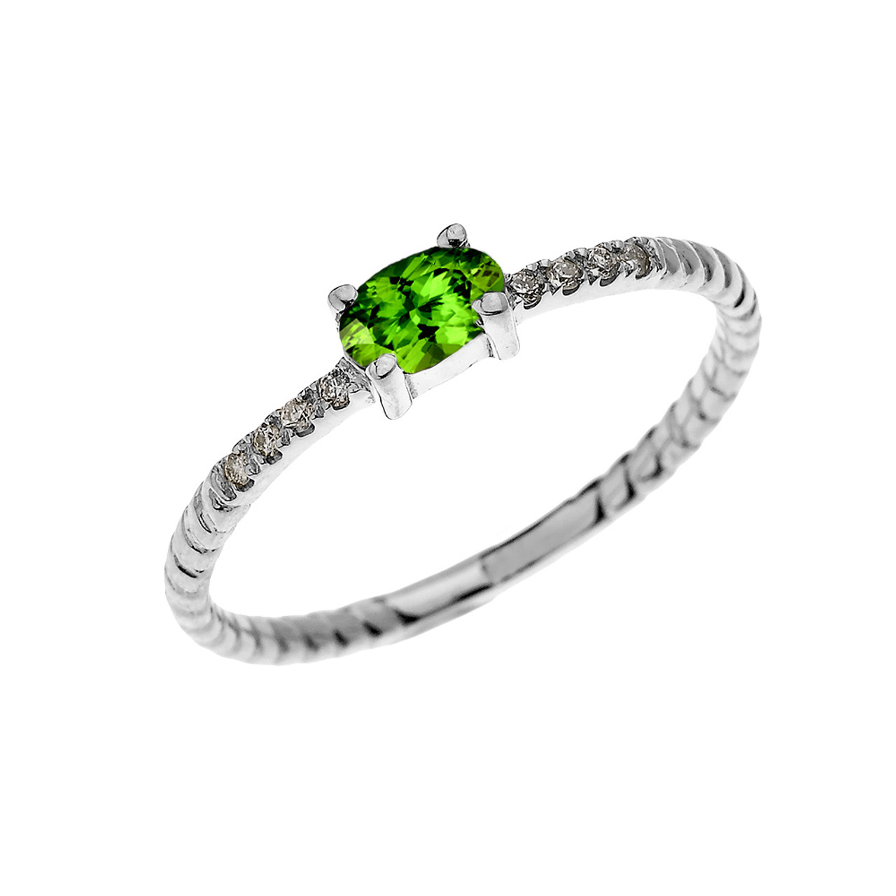 f7b672bd25f64 White Gold Dainty Solitaire Oval Peridot and Diamond Rope Design  Engagement/Proposal/Stackable Ring