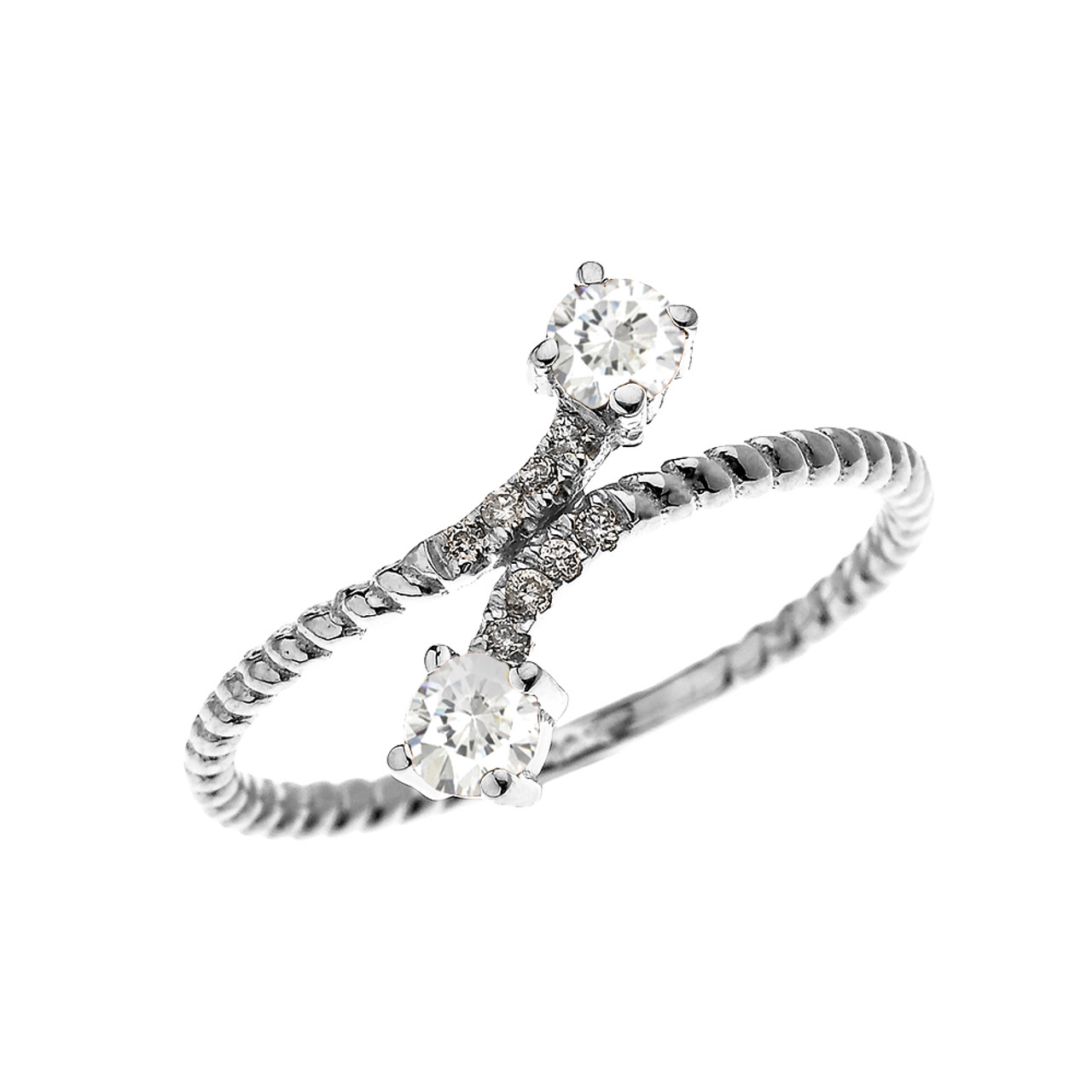 WHITE GOLD DAINTY Two Stone Garnet And Diamond Rope Design Promise Ring