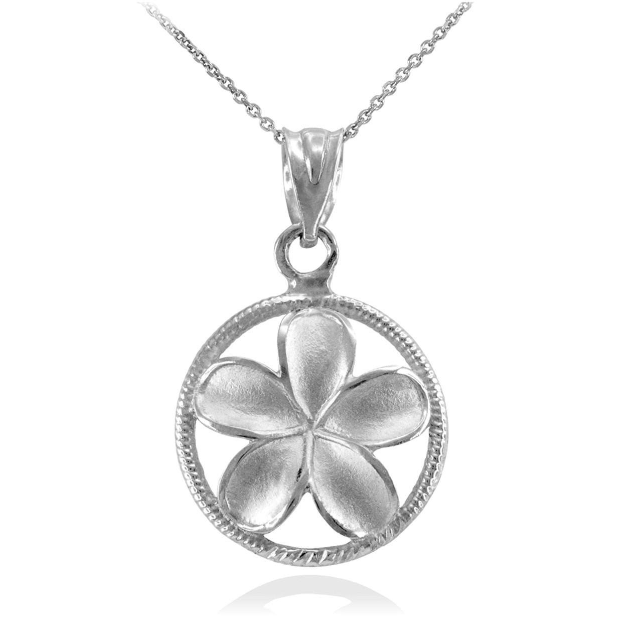 925 Sterling Silver Polished Plumeria Flower Charm Pendant