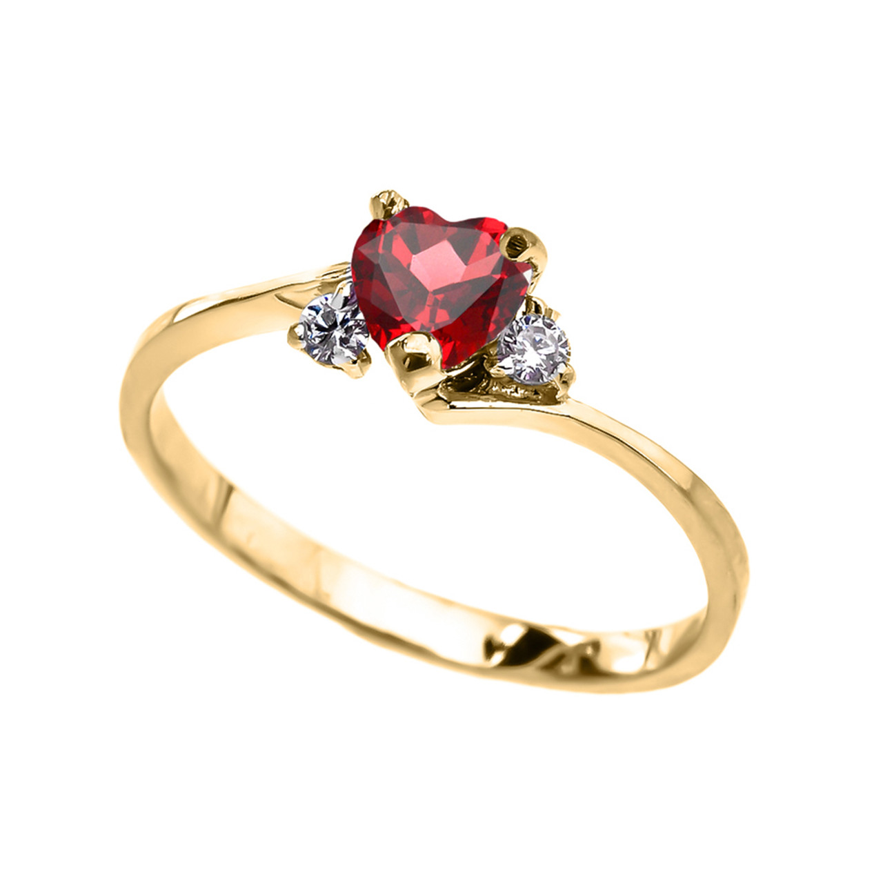 11be9fc16bcee Dainty Yellow Gold (LCR) Ruby Heart Promise Ring