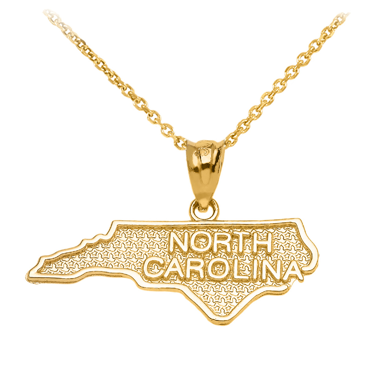 10k Yellow Gold Arizona State Map United States Pendant Necklace