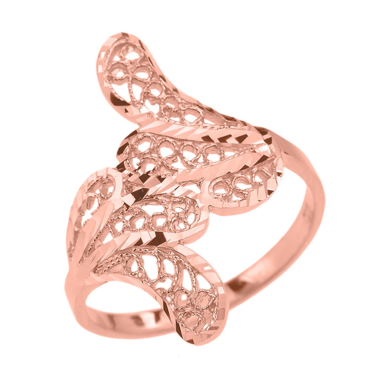 Rose Gold Diamond Cut Filigree Leaf Ring Leaf Rings