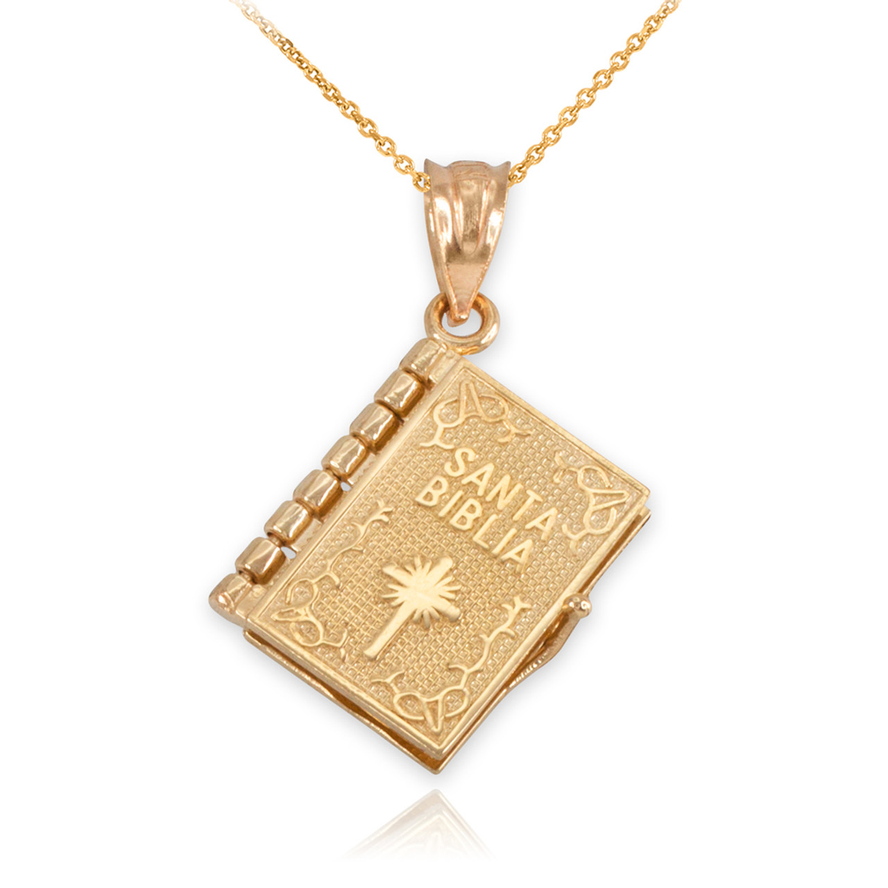 14k Yellow Gold Armenian Holy Blble Book with Lords Prayer Pendant Necklace