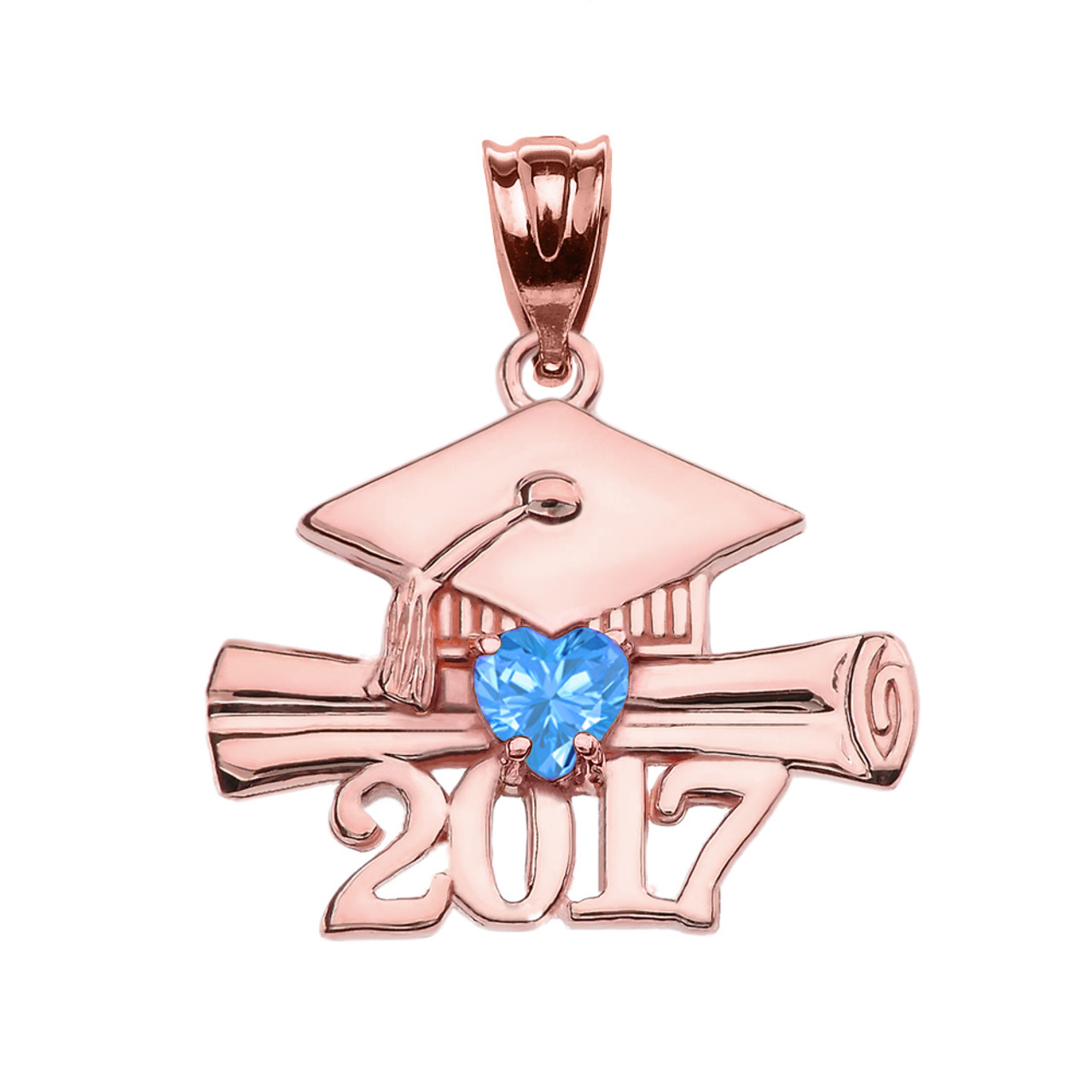 2017 Class Graduation Rose Gold Pendant Necklace