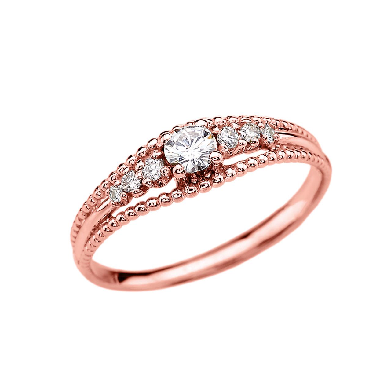 AQUAMARINE RING WITH DIAMONDS 14K ROSE GOLD 0.25CTS