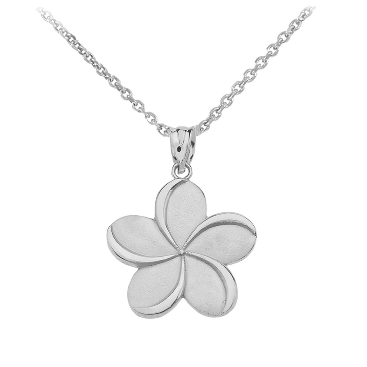 White Gold Hawaiian Plumeria Flower Pendant Necklace