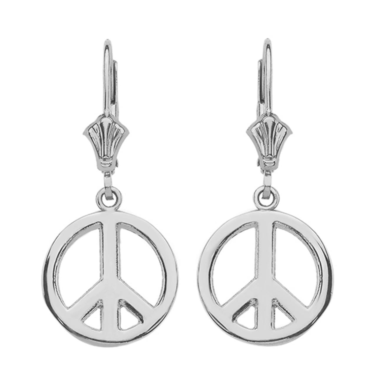 4469c1b0af362 14K White Gold Boho Peace Sign Earrings