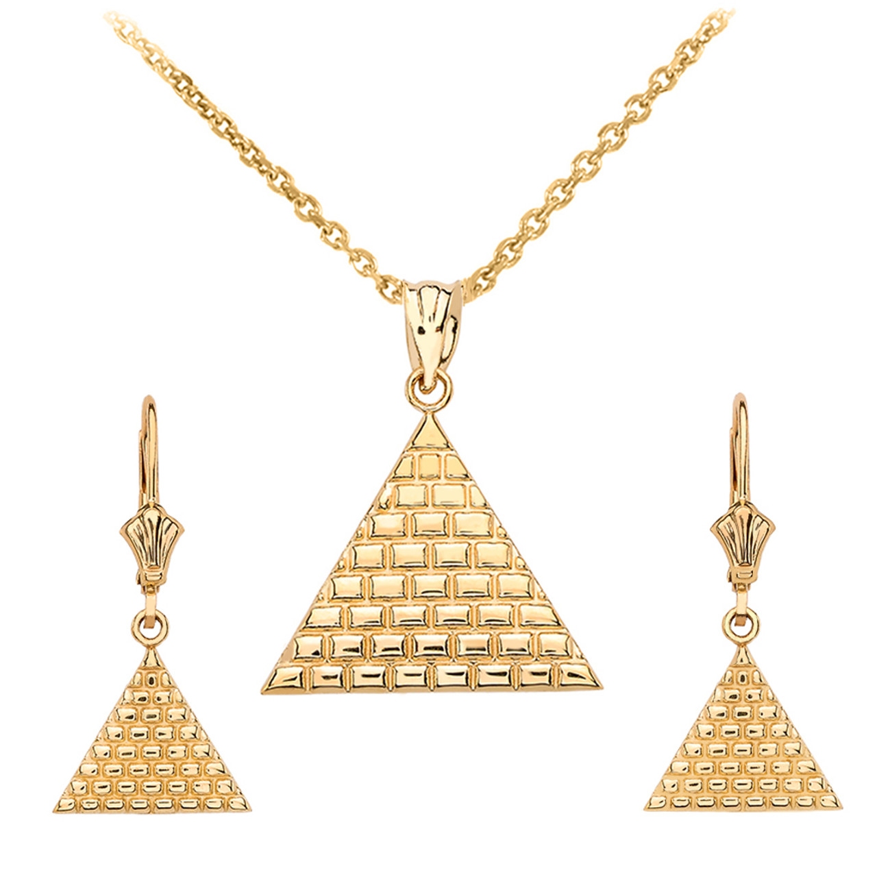 3ee63965fc018 14K Yellow Gold Egyptian Pyramid Triangle Necklace Earring Set