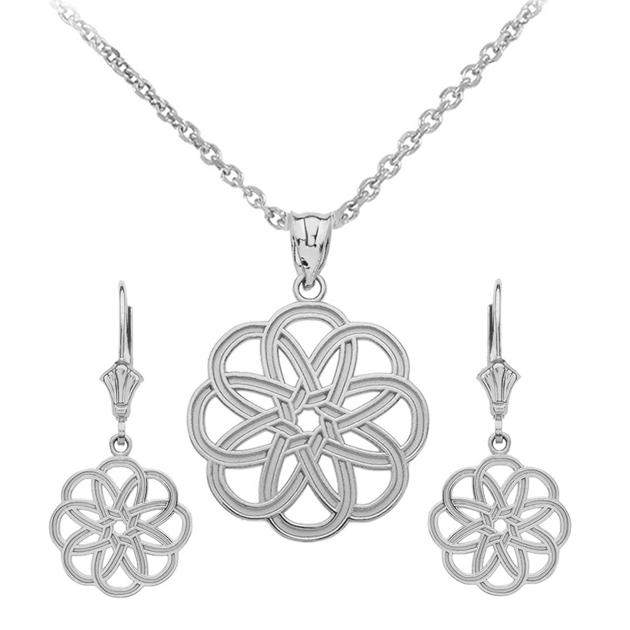 e4da11c4b Sterling Silver Celtic Knot Round Flower Necklace Earring Set