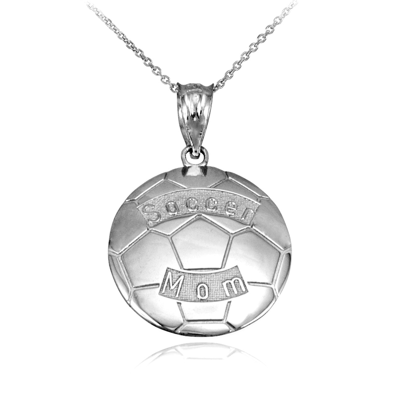 466955e08 Sterling Silver Soccer Mom Soccer Ball Sports Pendant Necklace