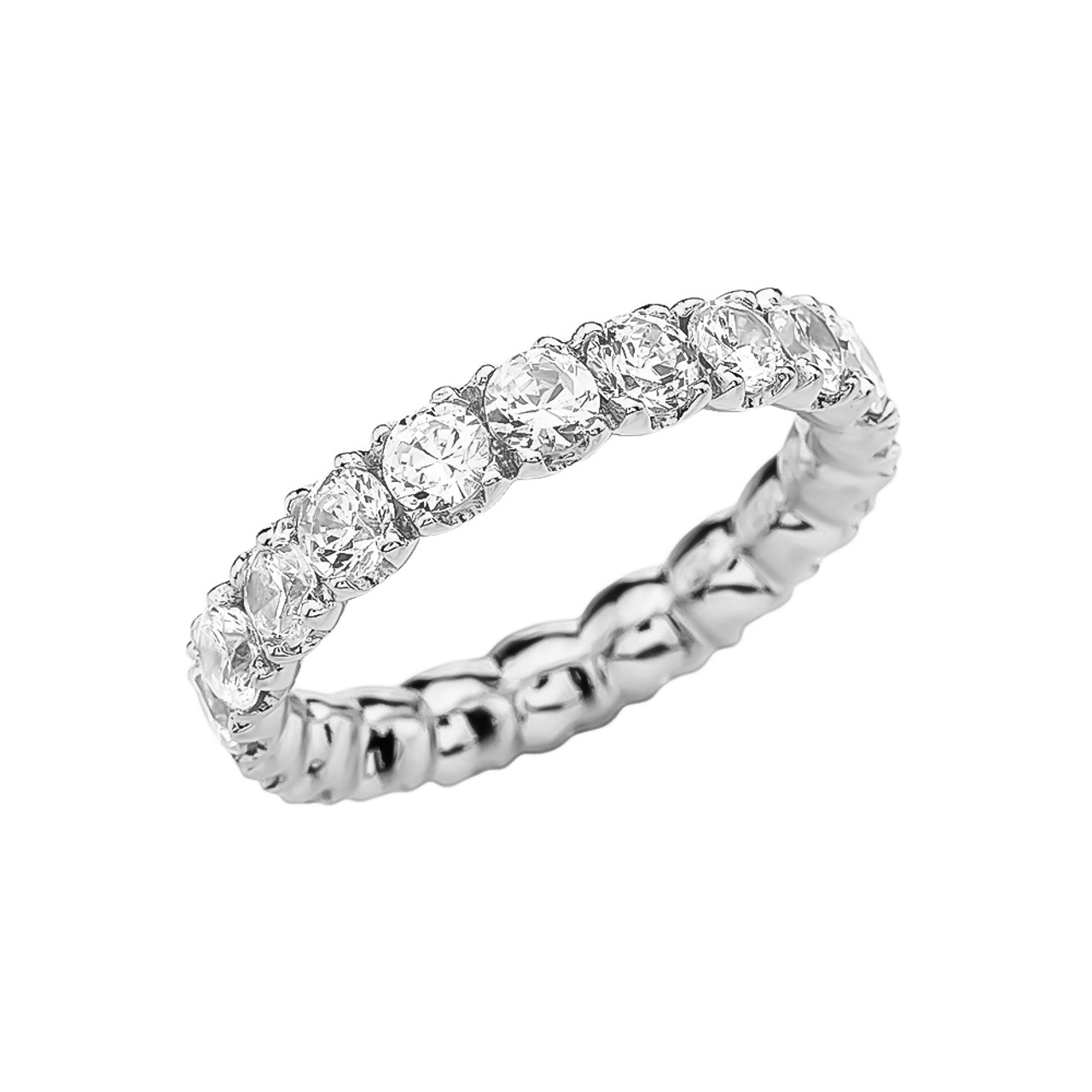 This is a graphic of White Gold 44.44-44 Carat CZ Eternity Wedding Band