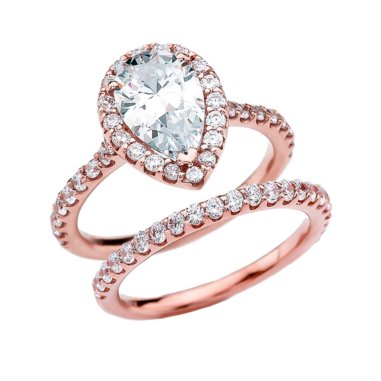 Cubic Zirconia Pear Shape Solitaire Elegant Rose Gold Engagement Wedding Ring Set