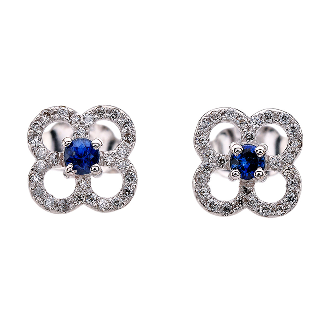 ae0ddeff61539 Diamond and Sapphire 4 Leaf Clover White Gold Stud Earrings