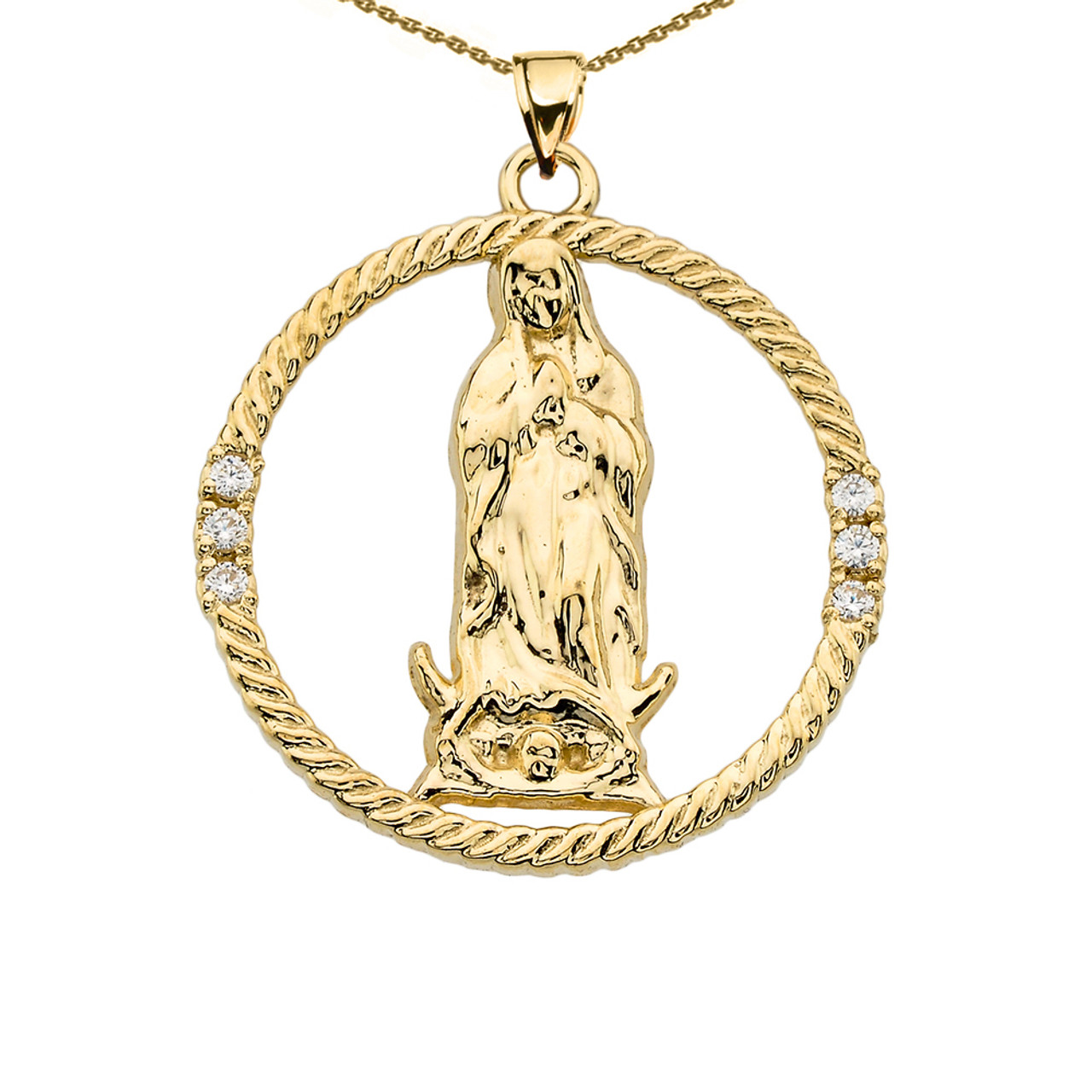 The Blessed Virgin Mary Diamond Yellow Gold Round Design Pendant Necklace