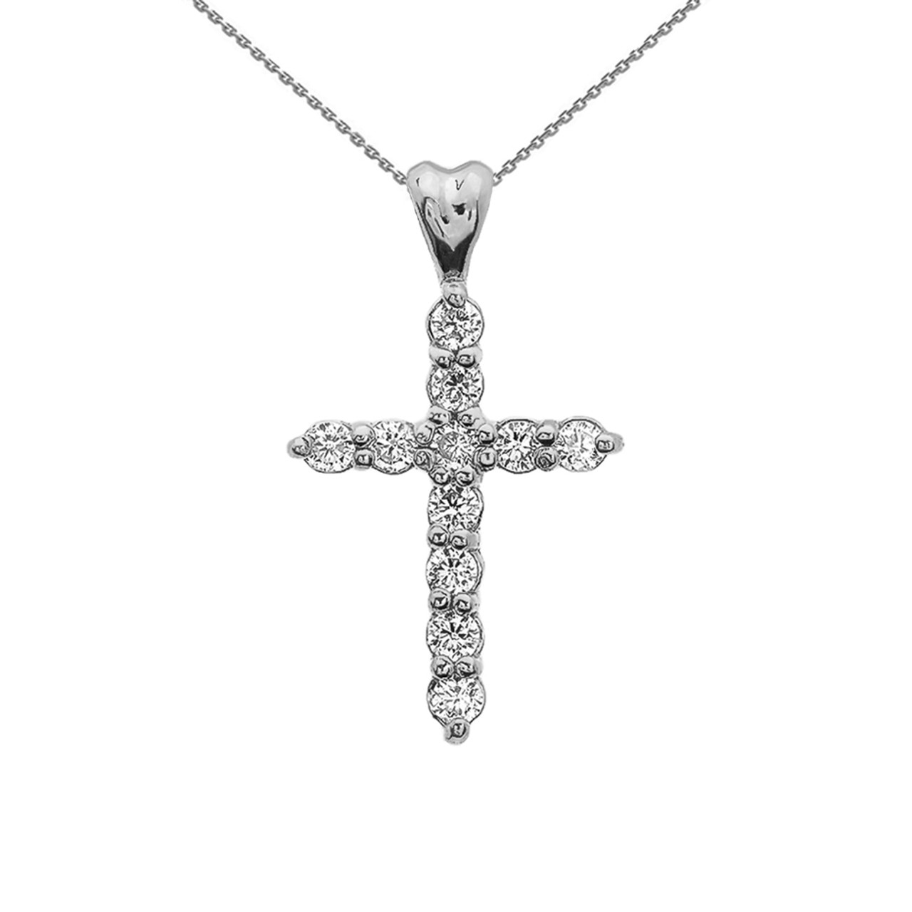 White Gold Elegant Cubic Zirconia (CZ) Cross Pendant Necklace 45e3beb052ba
