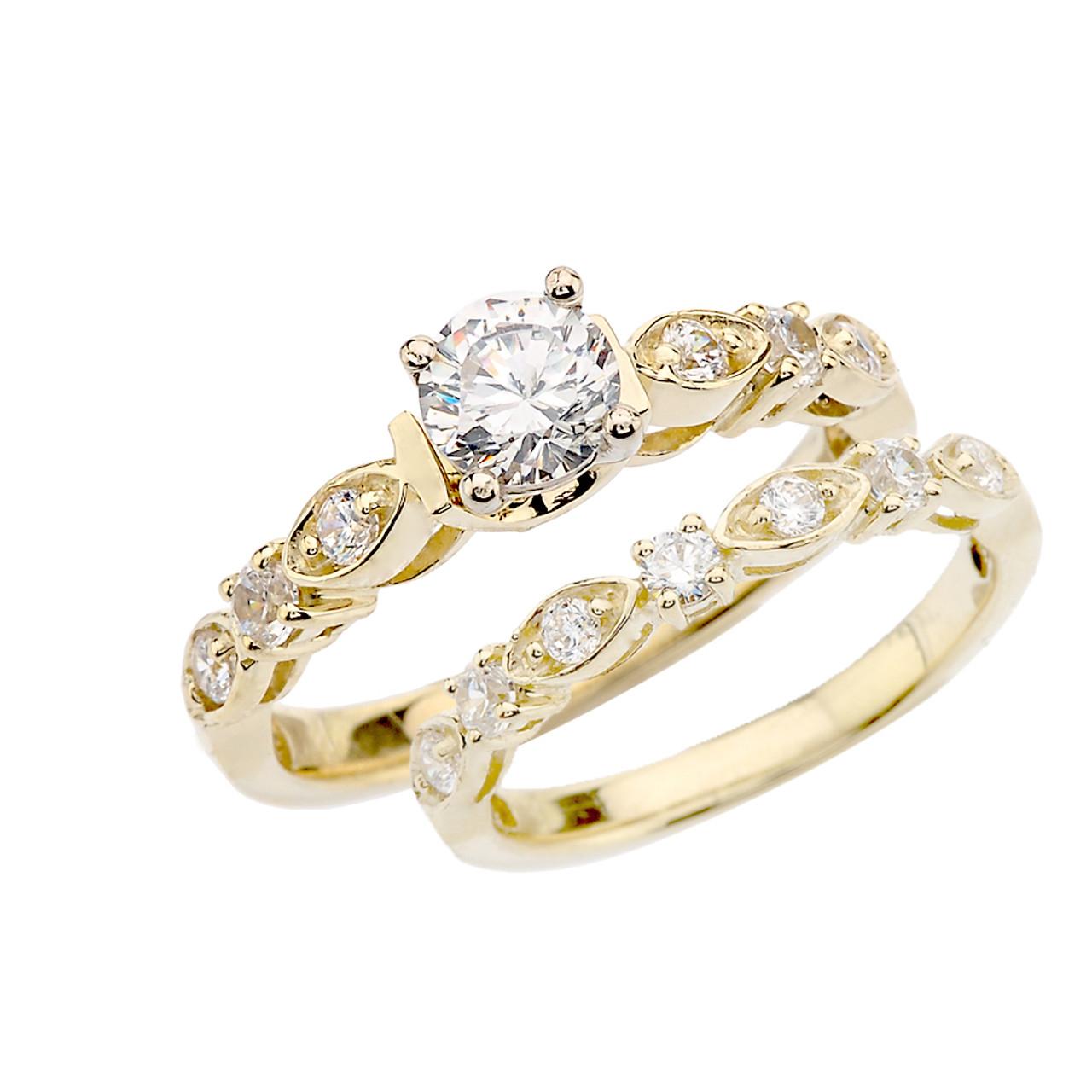 Yellow Gold Diamond Wedding Ring Set With White Topaz Center Stone