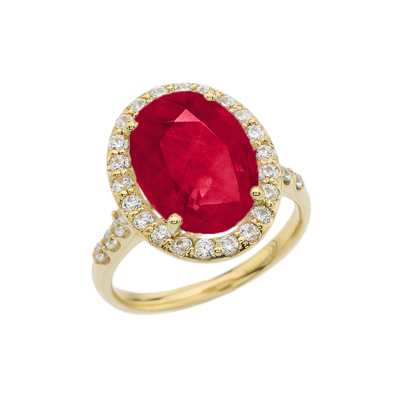 Oval Red Garnet and Round White CZ Halo Bridal Ring 14k Yellow Gold Over