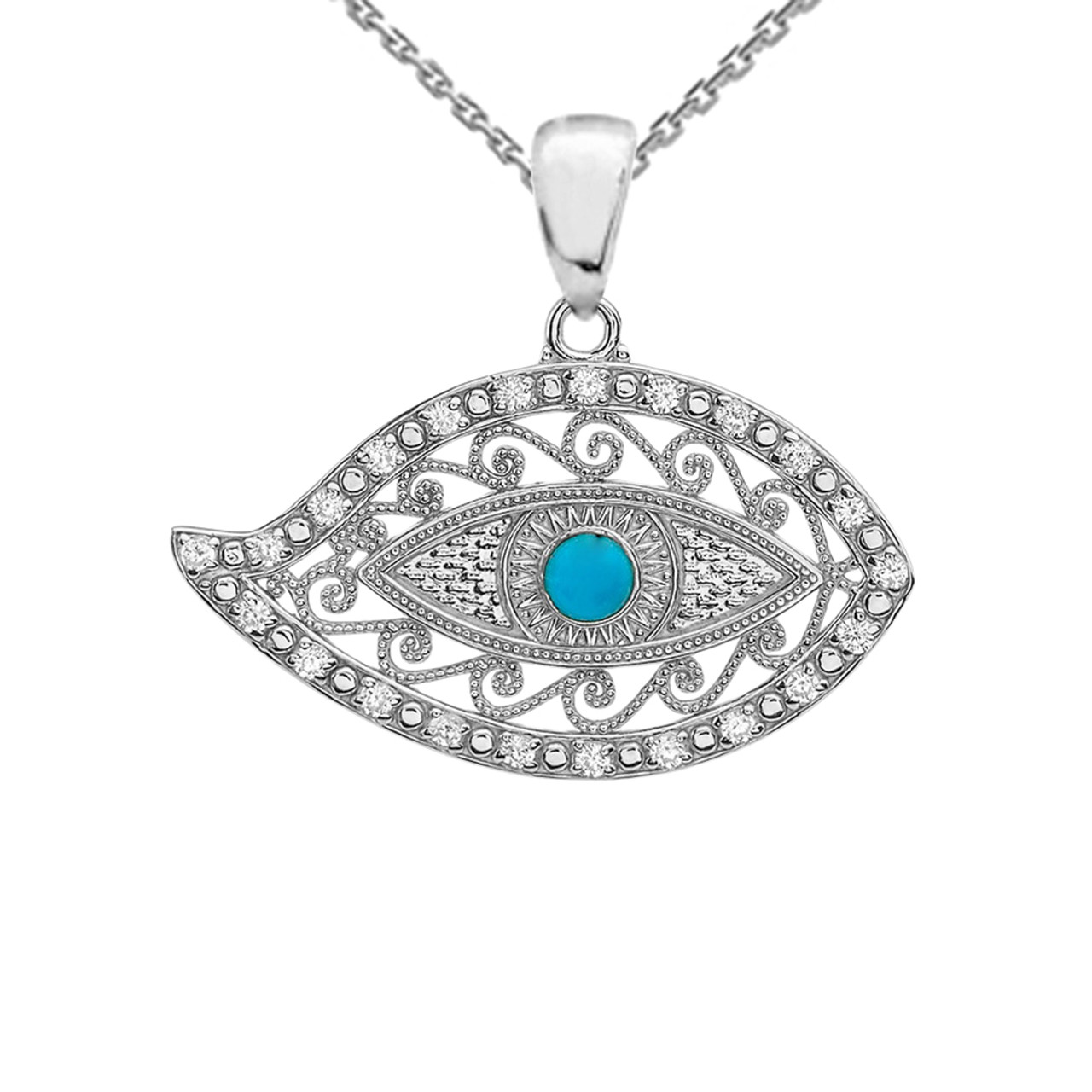 e697f7023 White Gold Evil Eye Cubic Zirconia Pendant Necklace With Turquoise ...