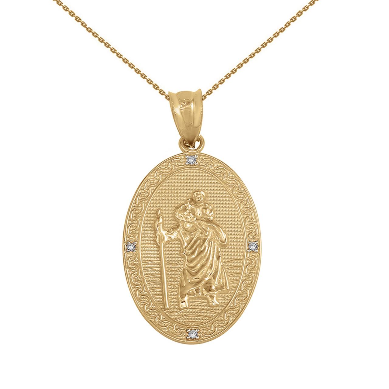7590f367706 Solid Yellow Gold Saint Christopher Medallion Diamond Pendant Necklace ( 1