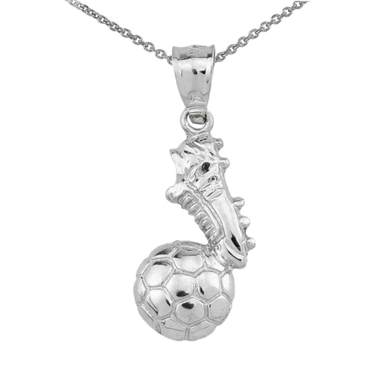 Sports Charms 10k White Gold Textured Soccer Ball Pendant Necklace