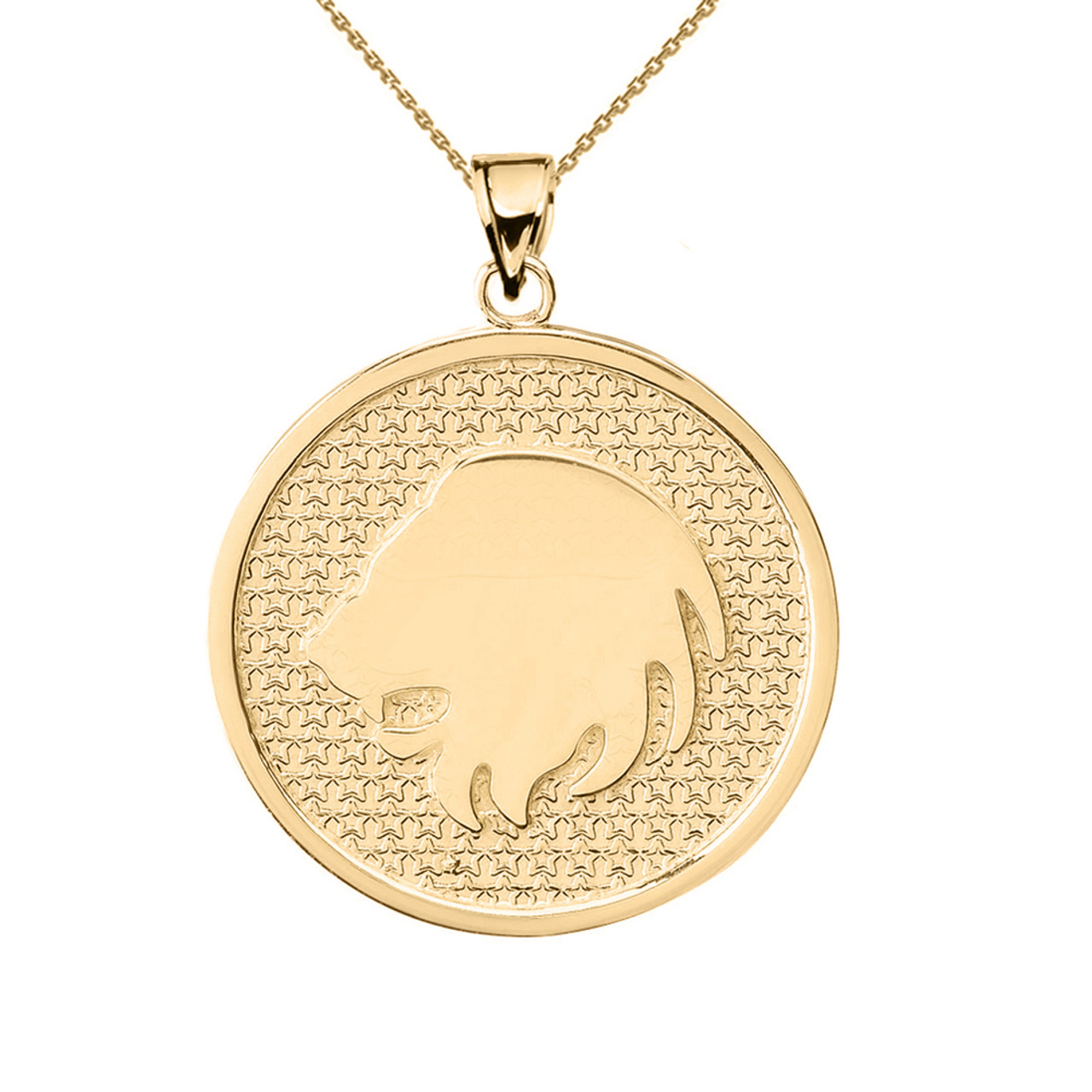 Yellow Gold Leo Zodiac Disc Pendant Necklace