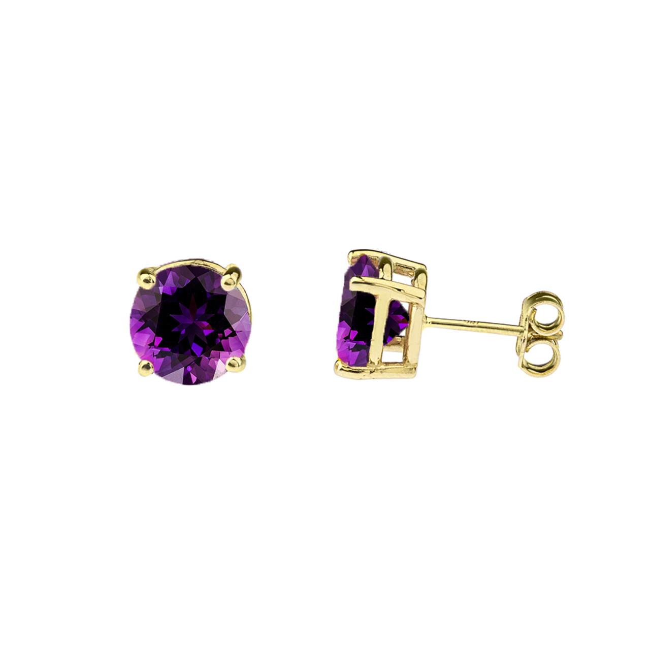 10K Yellow Gold February Birthstone Amethyst (LCAM) Earrings