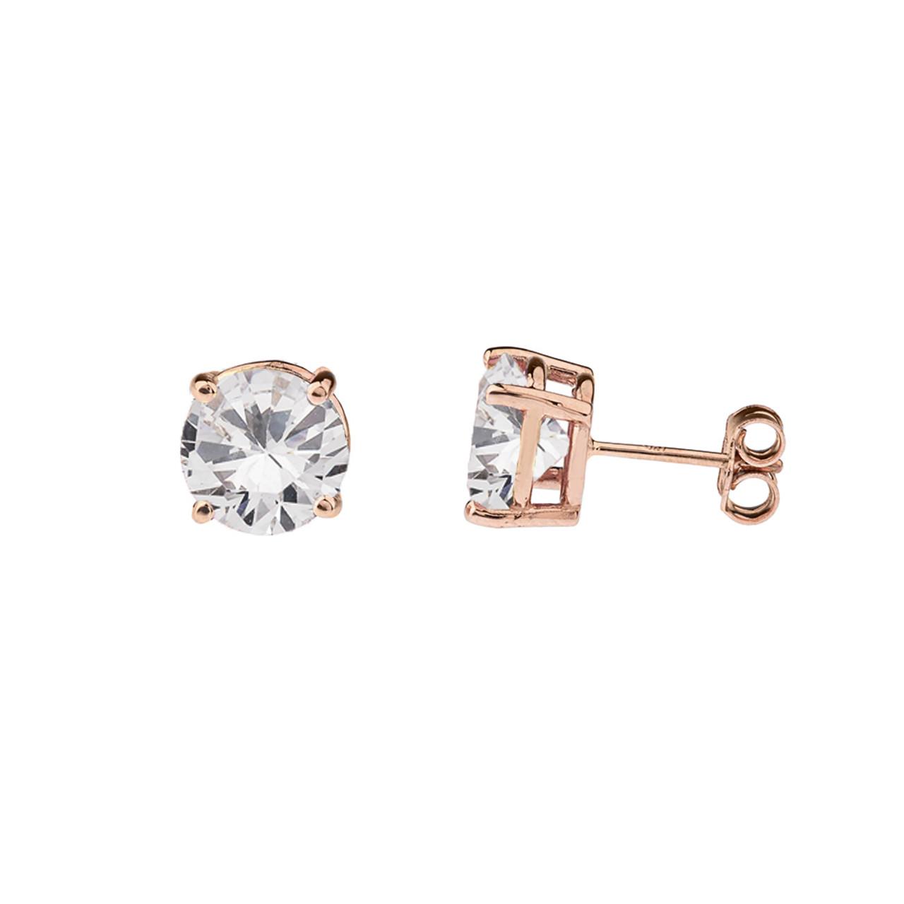 10K Rose Gold April Birthstone Cubic Zirconia (CZ) Earrings d701a82142