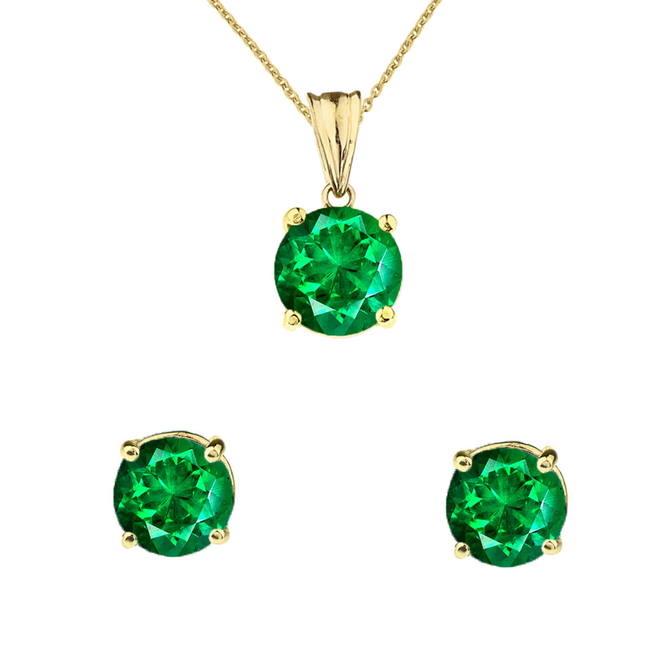 Yellow Gold May Birthstone Emerald Lce Pendant Necklace Set