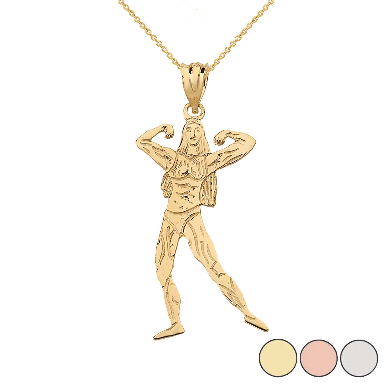 244639c478e Weightlifting Fitness Sport Female Bodybuilder Pendant Necklace in Solid  Gold (Yellow/Rose/White