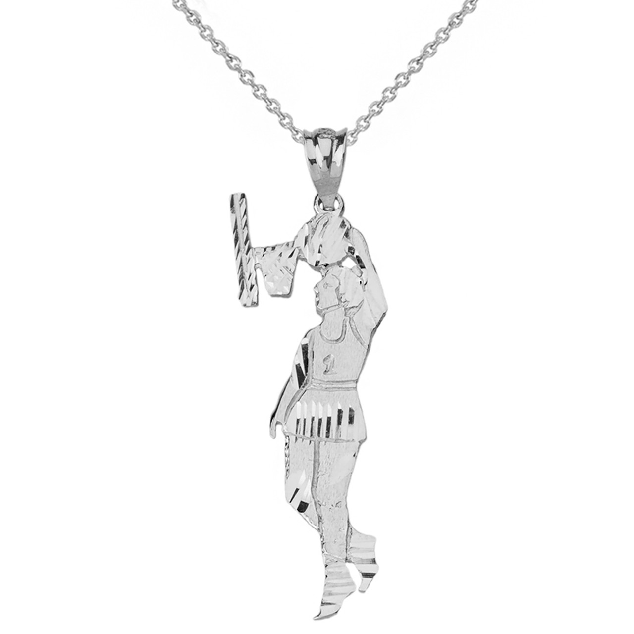 Solid Genuine White Gold Women s Basketball Pendant Necklace 98969b95cb