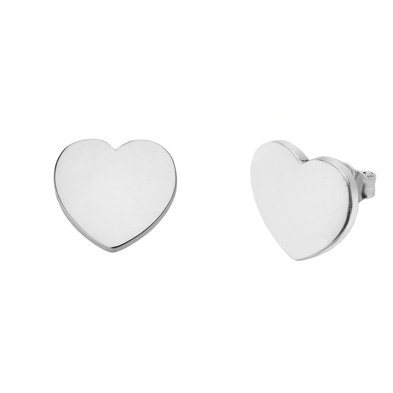 5bc8041b6 Solid White Gold Simple Heart Earrings