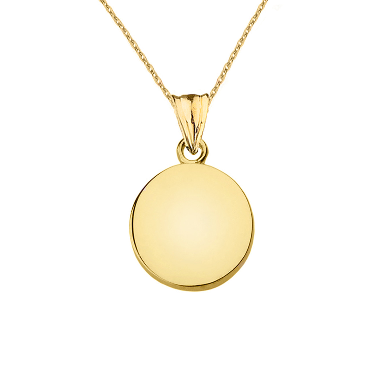 Solid Yellow Gold Simple Round Pendant Necklace