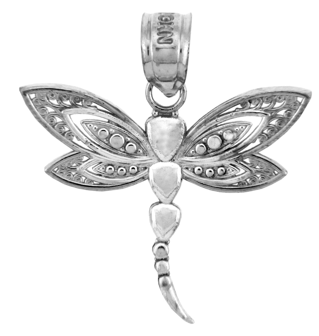 White Gold Charms The White Gold Dragonfly Pendant