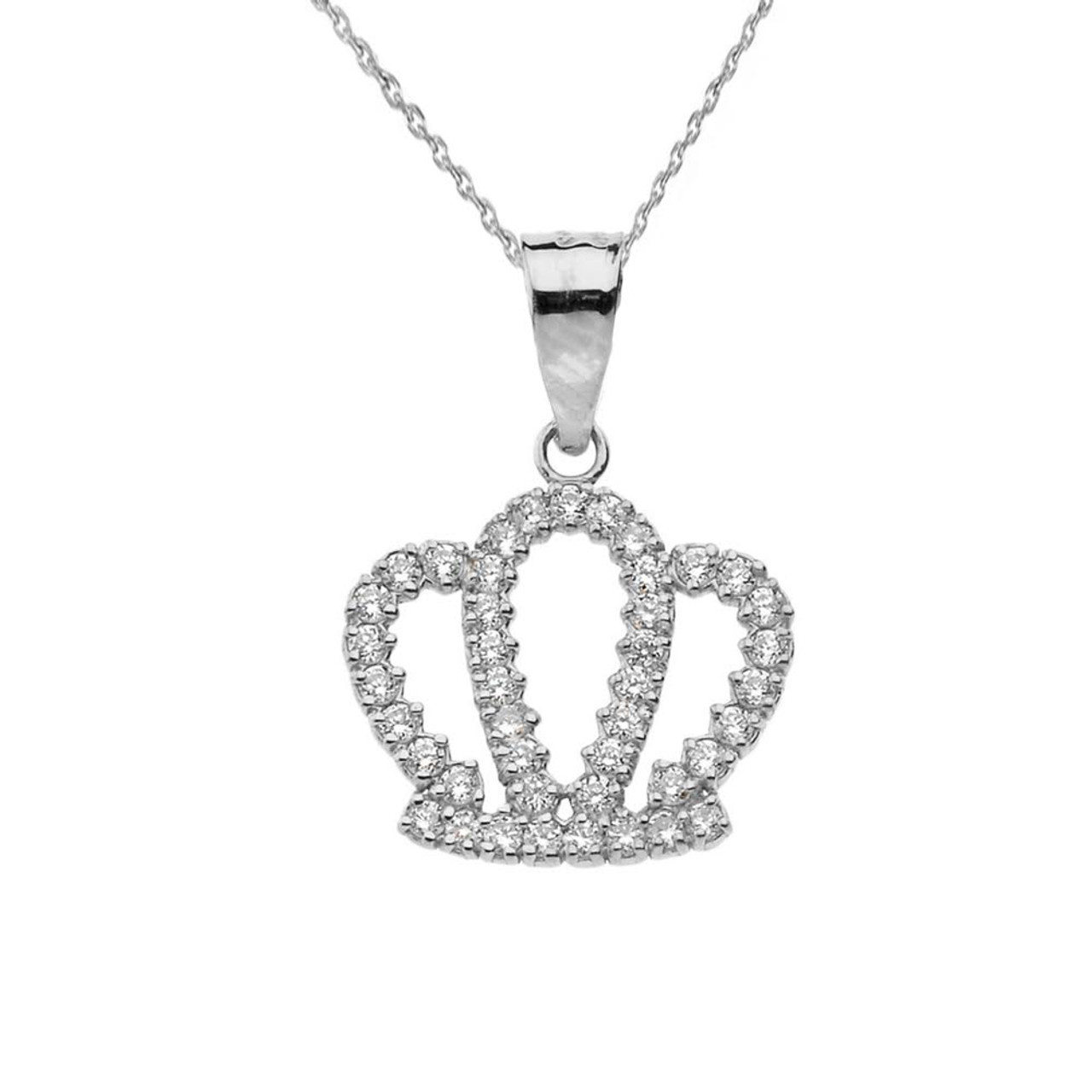 Solid Filigree Black and White CZ Cubic Zirconia Pendant Necklace Charm Chain