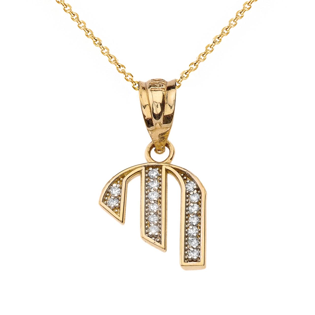 Alphabet Initial /'B/' Pendant Solid 14k Yellow Gold