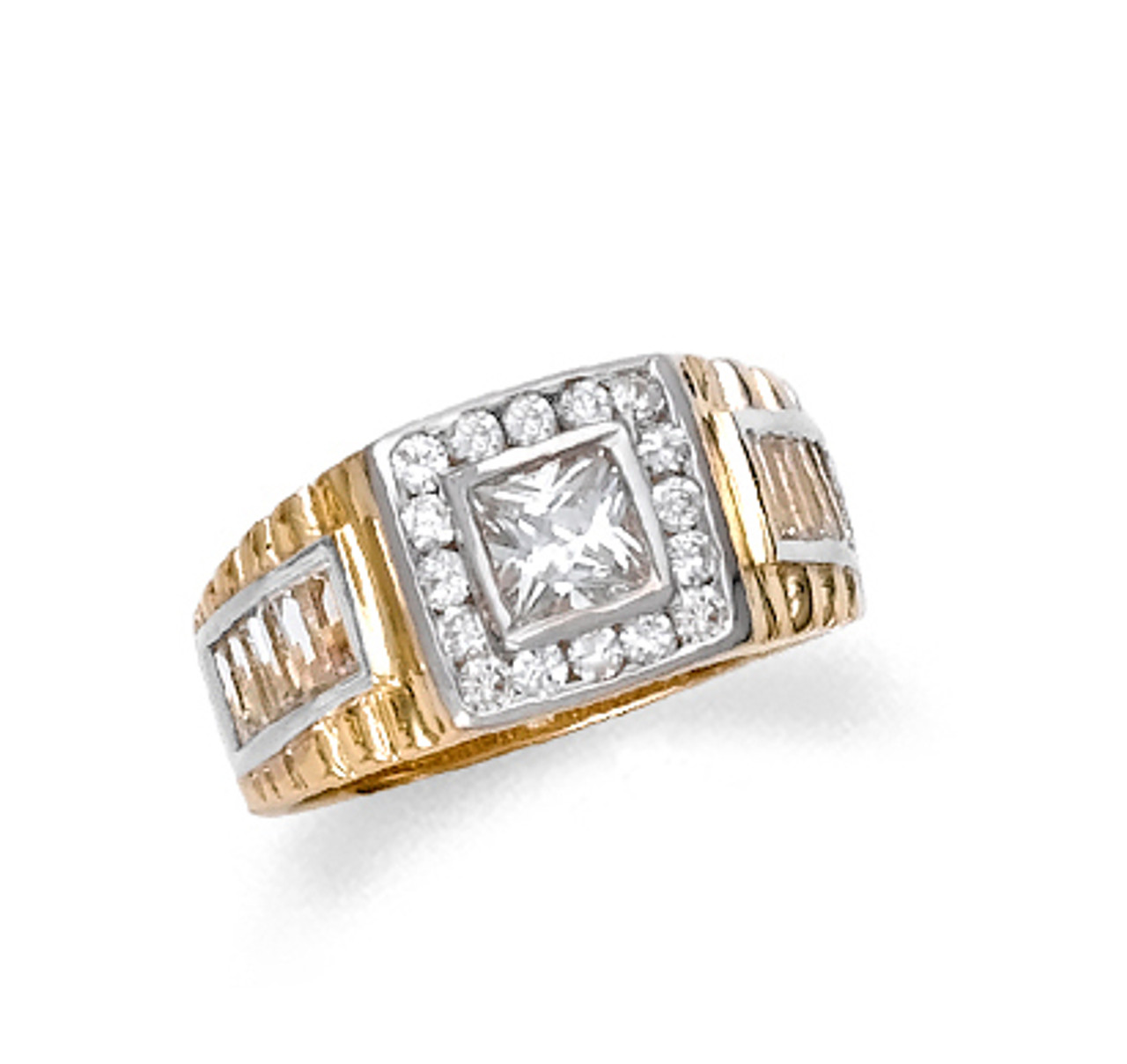 Real Solid 10K Yellow Gold Mens Beautiful Super Star cz Ring 5.6 grams ALL SIZES