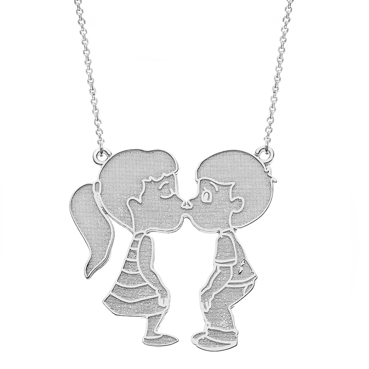2f6edc5840b5e 14k Solid White Gold Boy Girl Kissing Lovers Necklace