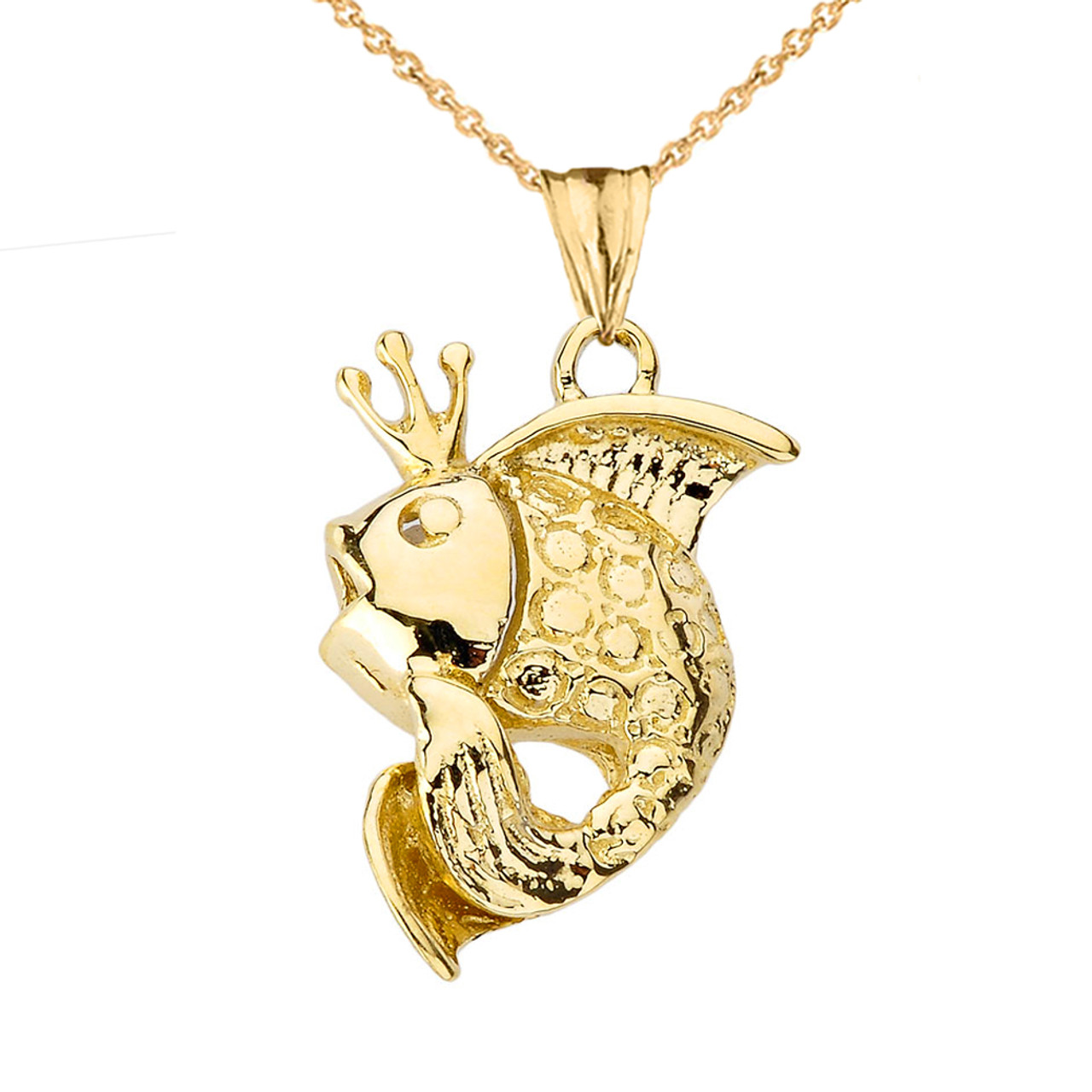 14K Yellow Gold Gold Fish Pendant With Necklace
