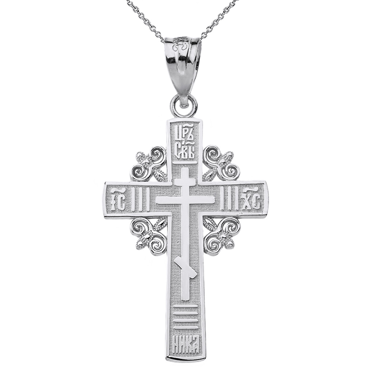 Antique Silver Russian Orthodox Cross Pendant sterling silver 925  Crucifix Pendant  cross necklace