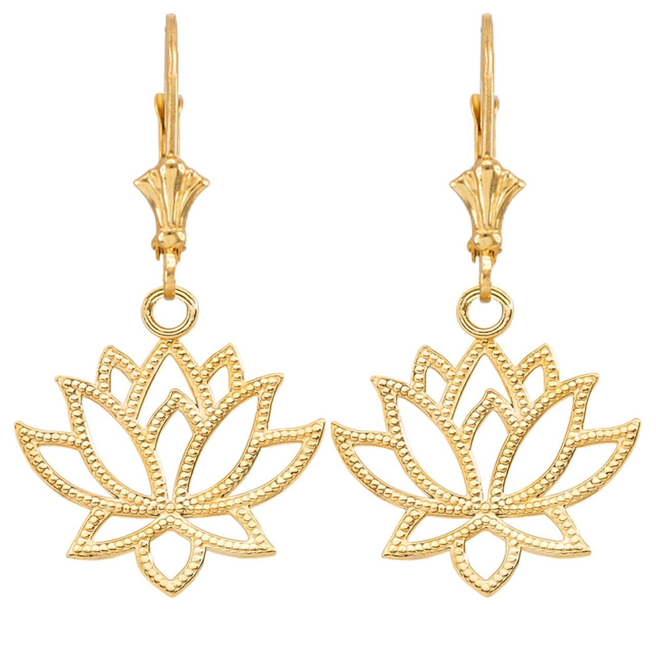 Lotus Flower Earrings In Yellow Gold