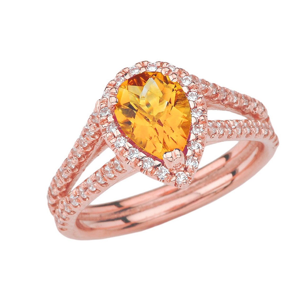 aa3543f246884 Double Raw Halo Pear Shape Genuine Checkerboard Citrine Ring in Rose Gold