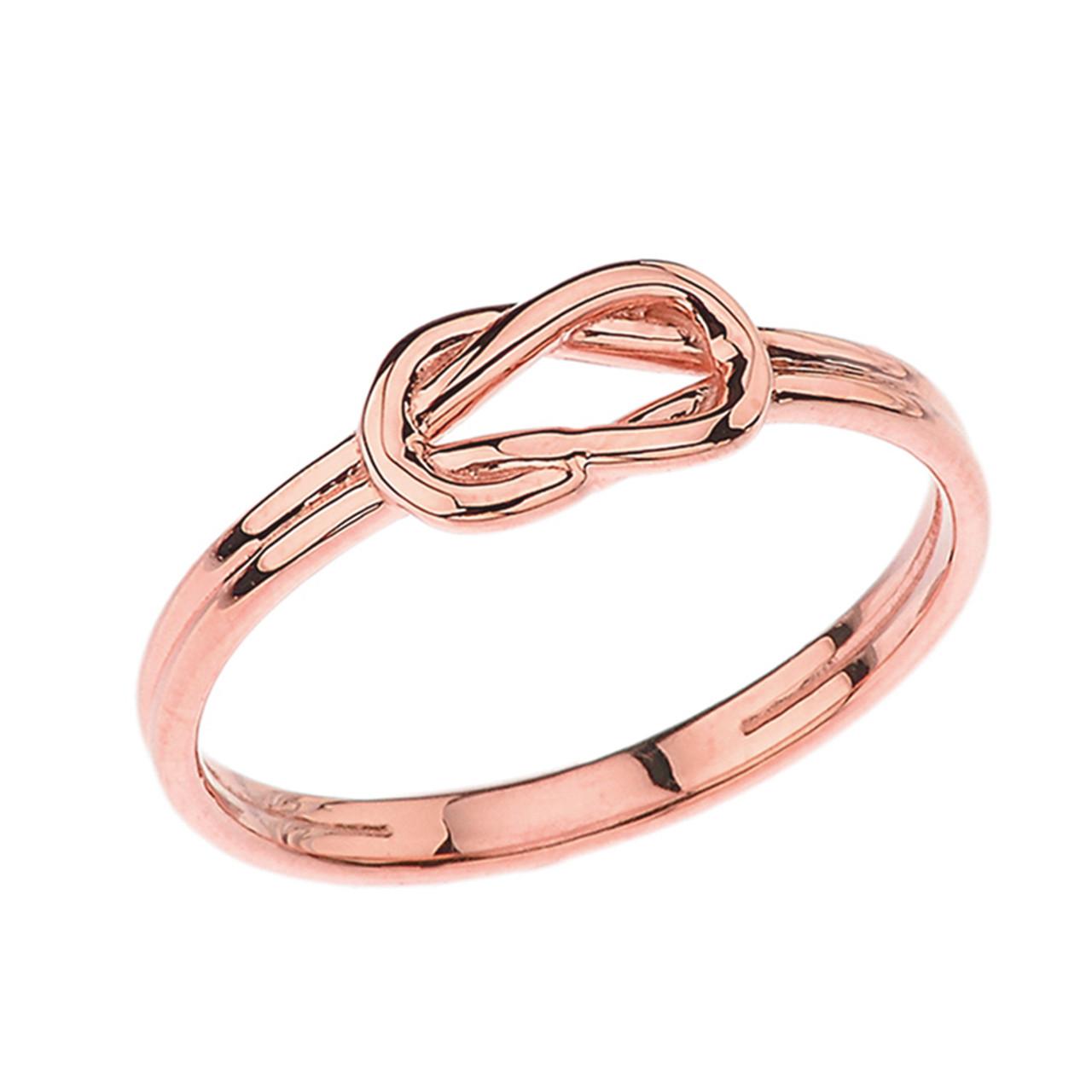 Solid 10k 14k Rose Gold The Hercules Love Knot Ring Ebay