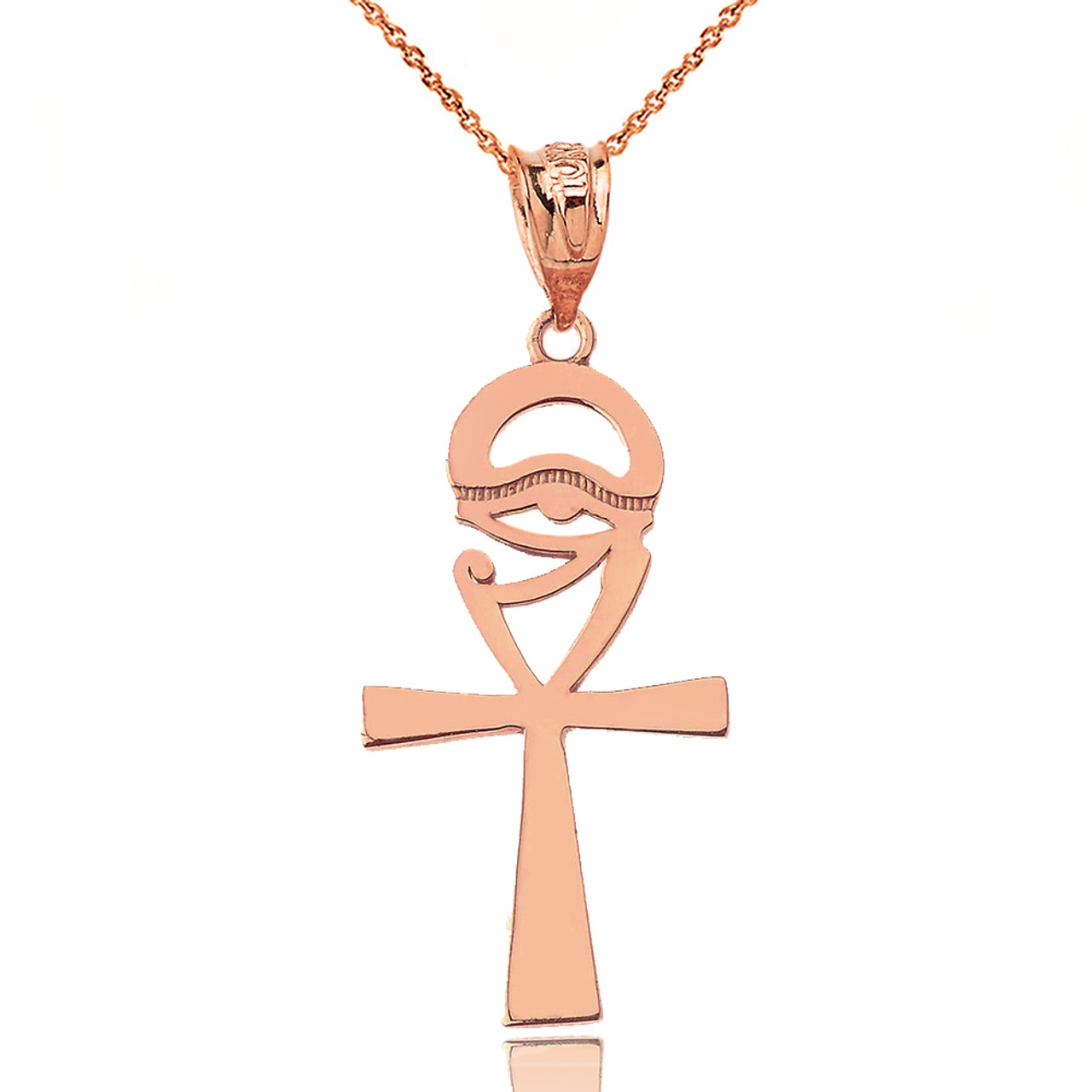 Ankh Cross Eye of Horus Pendant Necklace in Rose Gold