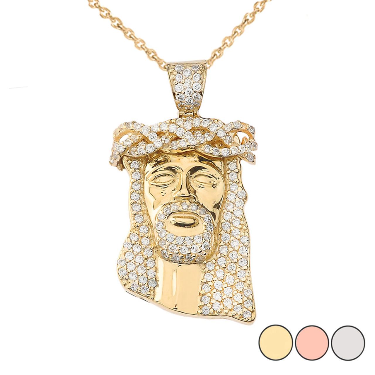 Diamond Jesus Pendant Necklace In Gold Yellow Rose White