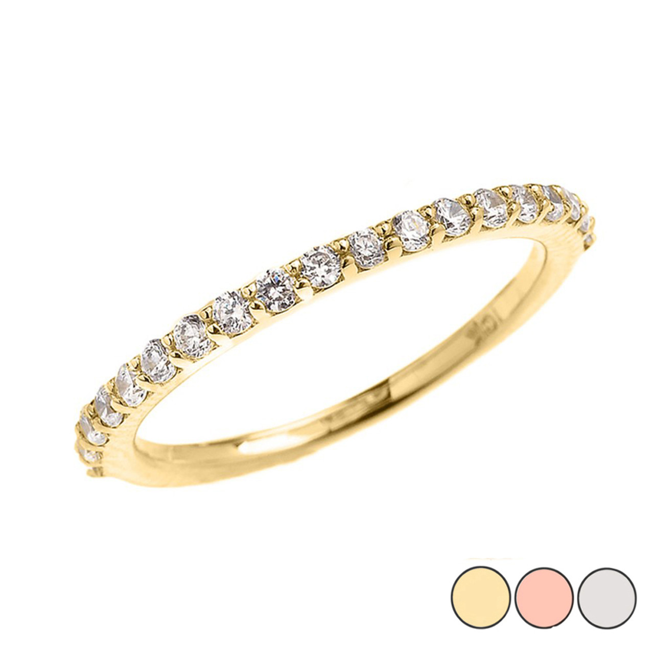 96196bc3dde5b7 Beautiful Dainty CZ Wedding Band in Gold (Yellow/Rose/White)