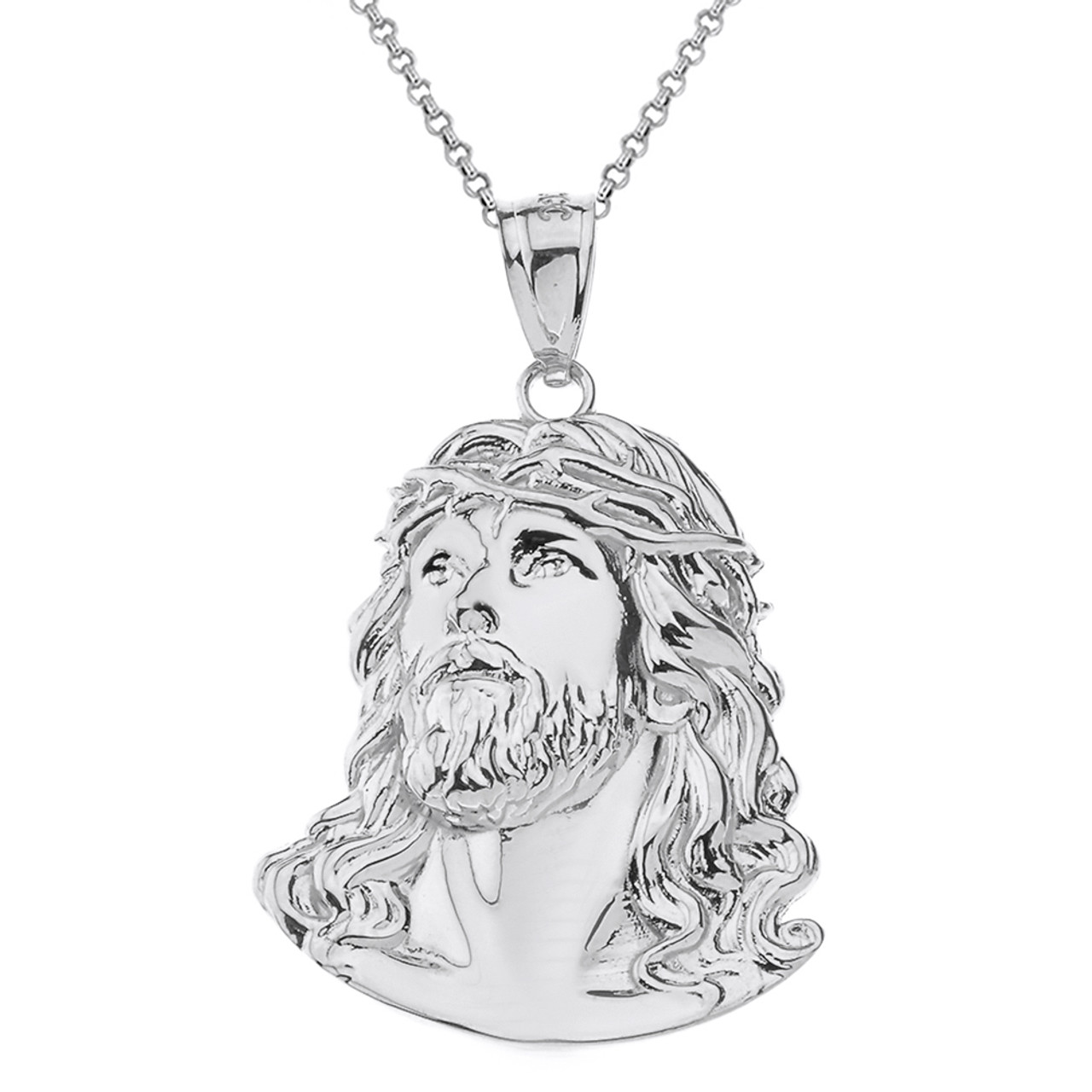 Solid White Gold Jesus Christ Head Pendant Necklace  95238.1536960151.jpg c 2 imbypass on 8a7e764e772d