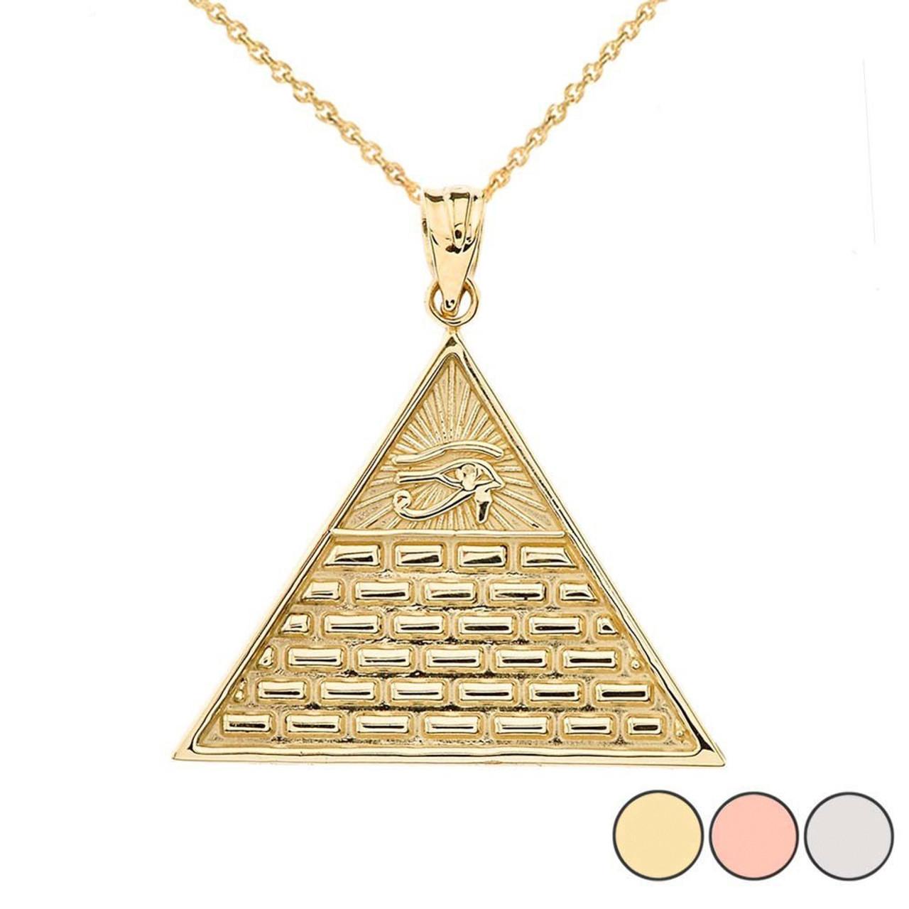 10k White Gold Egyptian Pyramid With King Tutankhamun Pendant Necklace Fashion Necklaces & Pendants