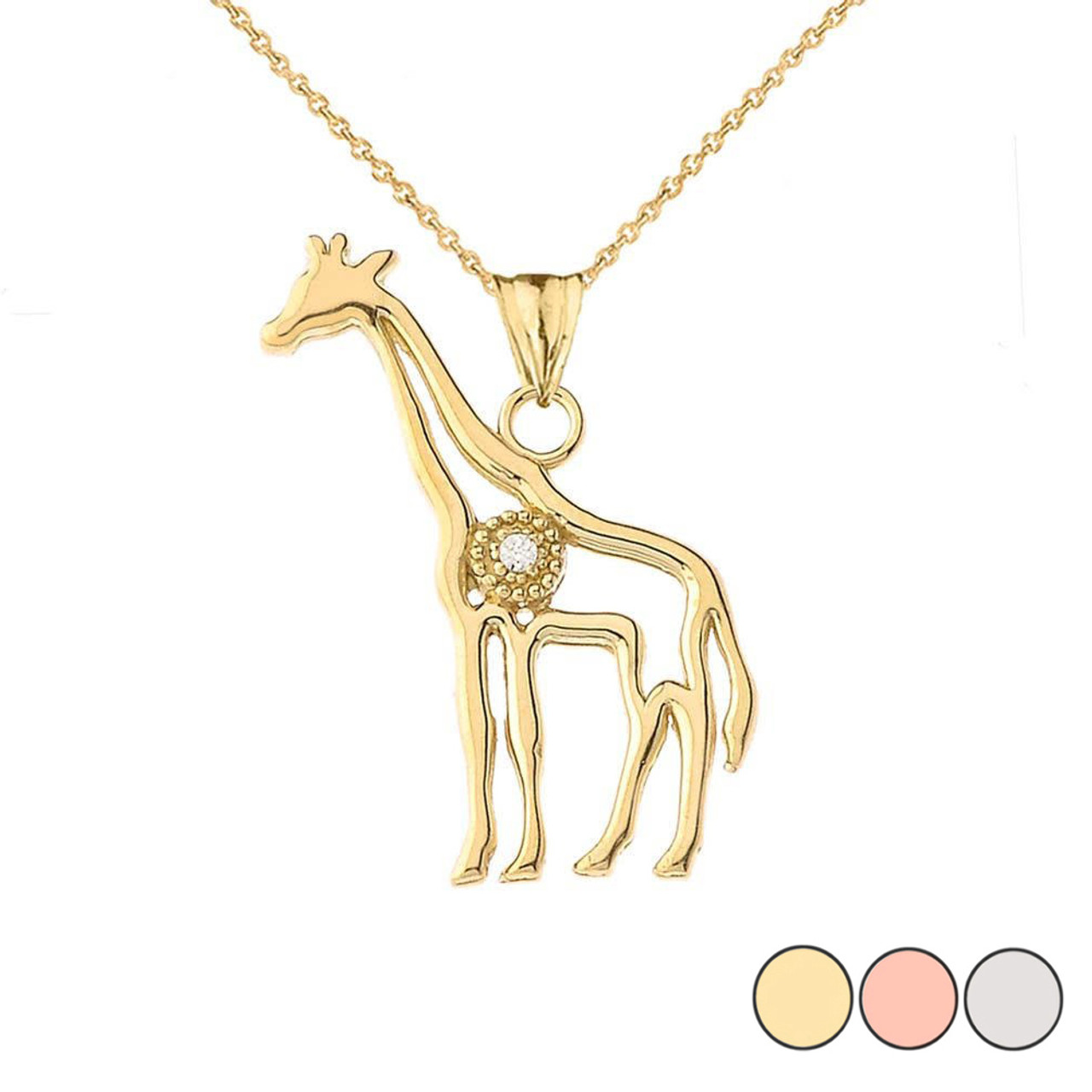 14k Yellow Gold Polished Cut-Out Giraffe Pendant Necklace