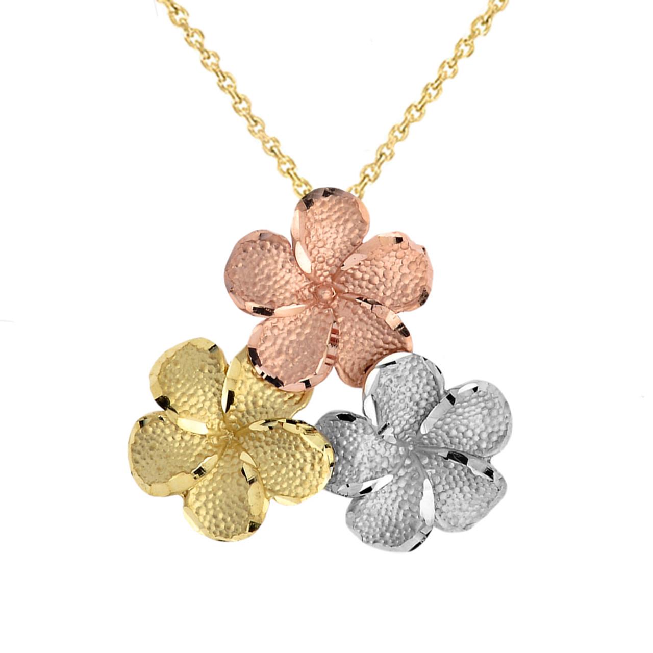 902872865efe0 Plumeria Flowers in Tri Color Gold